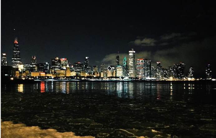 Clare Woollen's photo of the Chicago skyline from Lake Shore Drive.