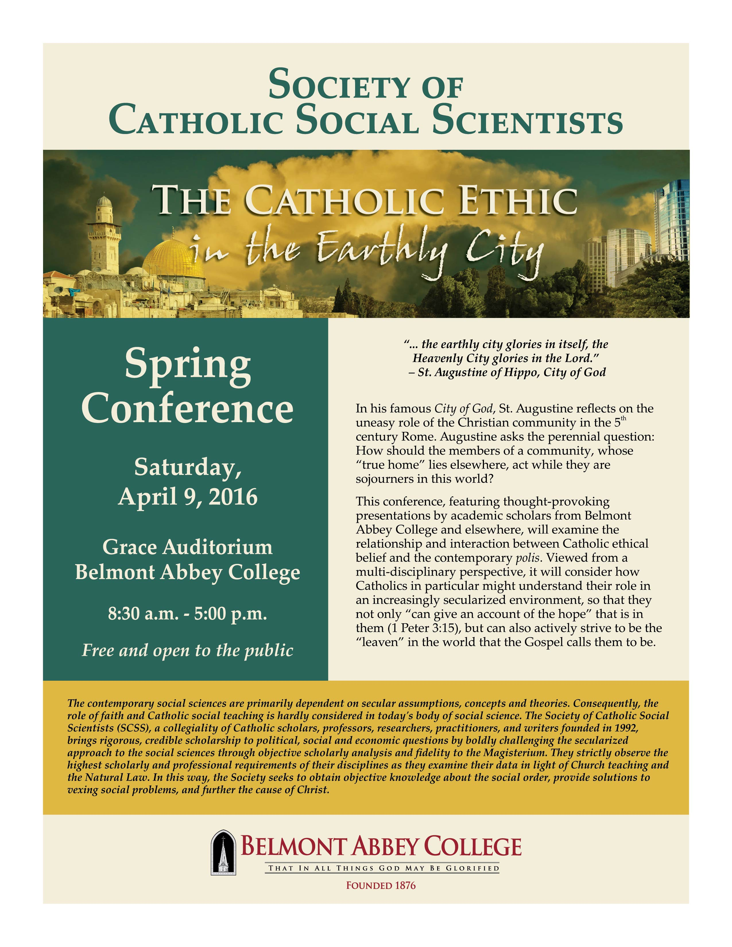 The Catholic Ethic in the Earthly City Conference @ Belmont | North Carolina | United States