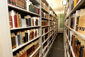 The high density shelving of the rare book room.