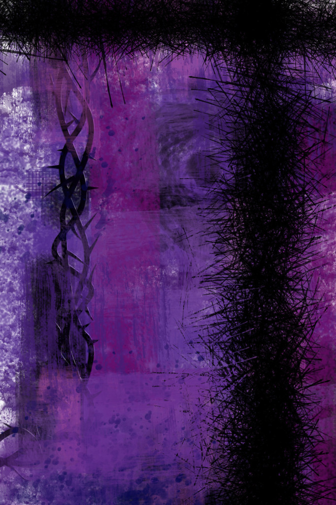 Lent apstract purple background with cross of thorns and copy space for text