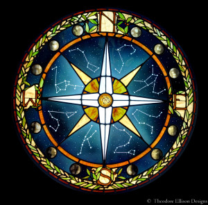 Stained glass compass