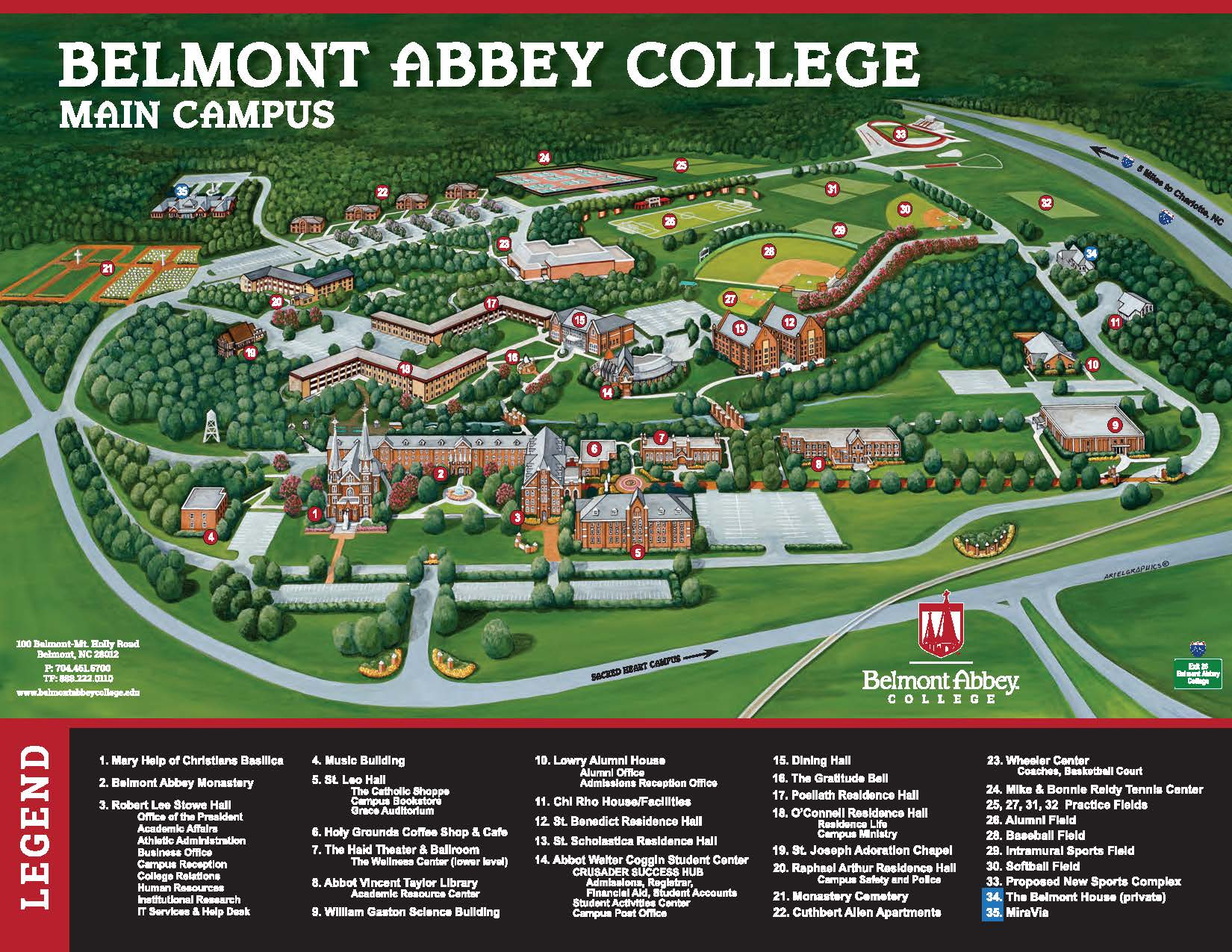 Franciscan University Campus Map.Campus Map Belmont Abbey College Private Catholic Charlotte Nc